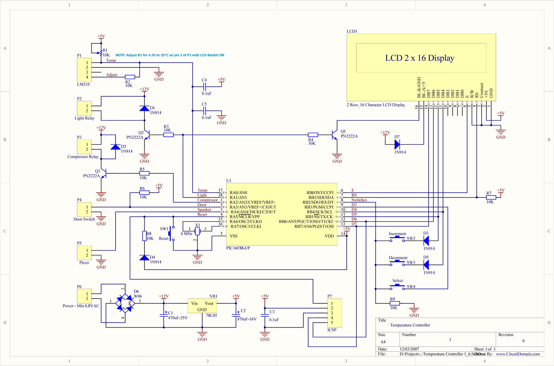 Digital Temperature Controller Circuit Schematic Diagram #0303C8